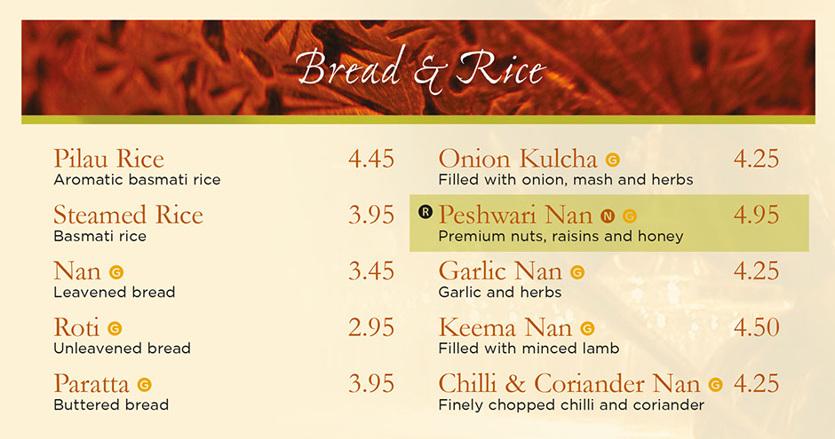 Rajdoot Indian menu - bread and rice