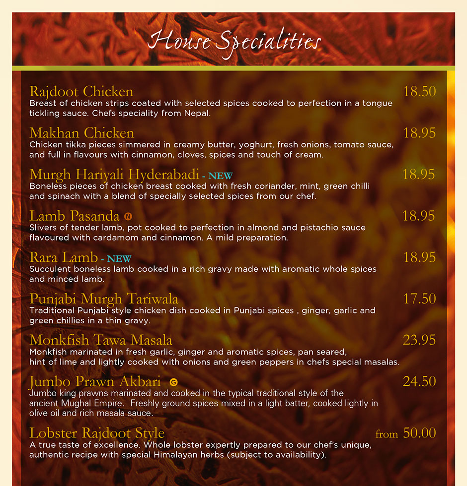 Rajdoot Indian menu - house specialities