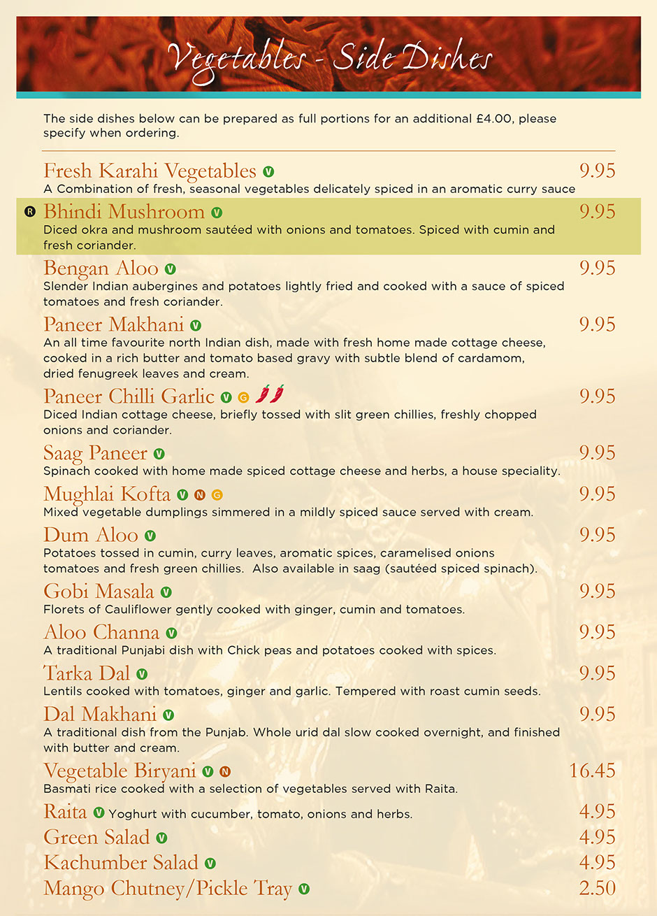 Rajdoot Indian menu - vegetable curries and side dishes